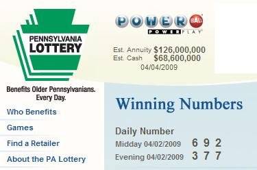 PA Lottery April 2, 2009-- midday 692, evening 377