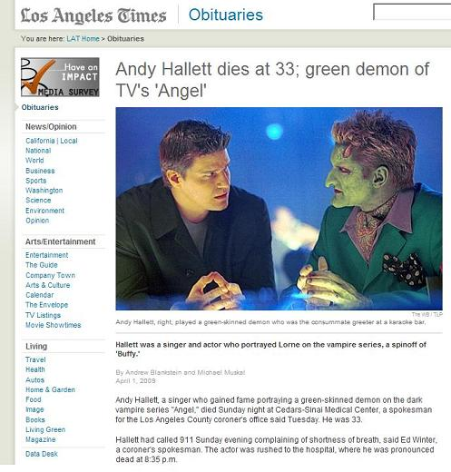 LA Times obituary from April 1, 2009, for Andy Hallett, who played a green demon in the Joss Whedon TV series 'Angel'