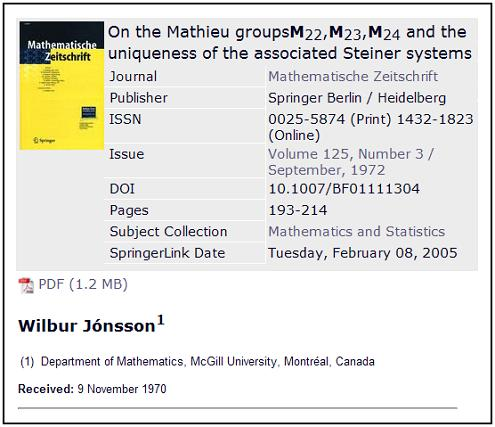 Springer description of 1970 paper on Mathieu-group geometry by Wilbur Jonsson of McGill U.