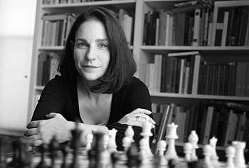 Professor Arielle Saiber with chess set