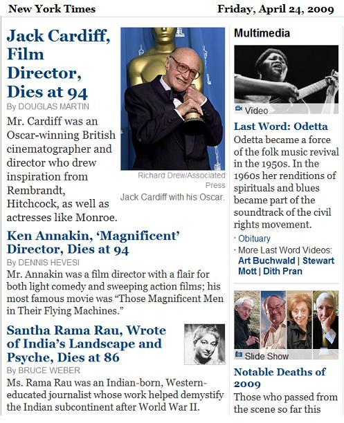 NY Times 4/24/09 obituaries for Jack Cardiff, Ken Annakin, Santha Rama Rau