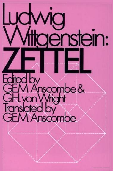 U. of California edition of Wittgenstein's 'Zettel'-- pink cover, white tesseract in background