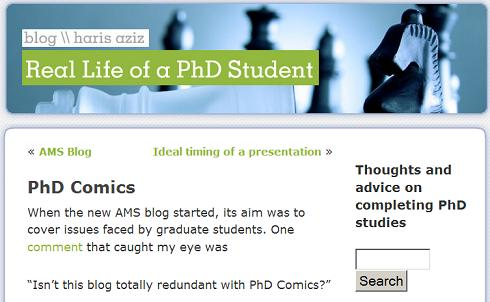 Math grad student's blog-- AMS Grad Student Blog redundant with PhD Comics