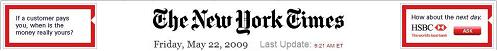 NYT banner, 9:21 AM Friday, May 22, 2009-- Ears are ads for HSBC.