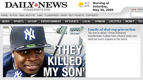 Front page of New York Daily News, Saturday morning, May 30, 2009: Omar Edwards with Yankees baseball cap