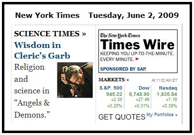 NY Times online front page-- Overbye on science and faith plus stock quotes