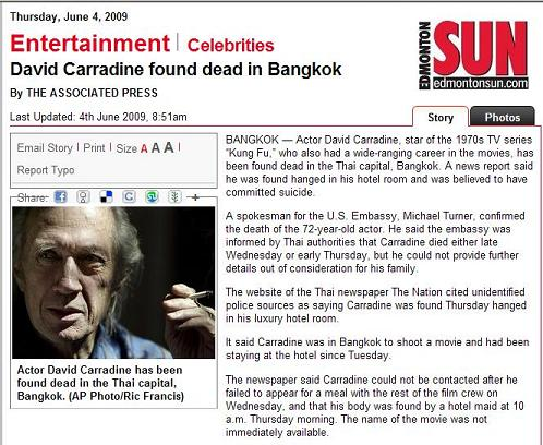 David Carradine is dead at 72