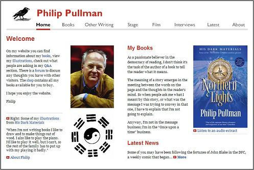 Home page of 'Dark Materials' author Philip Pullman