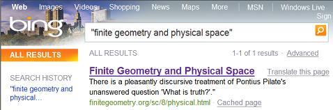 Bing.com search for 'finite geometry and physical space'