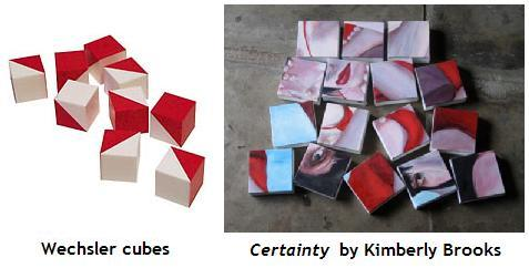 Wechsler cubes, with 'Certainty,' by Kimberly Brooks