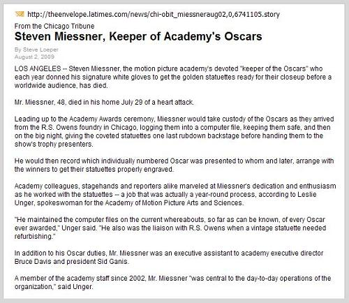 LA Times obit for Steven Miessner, 'Keeper of the Oscars,' who died July 29, 2009