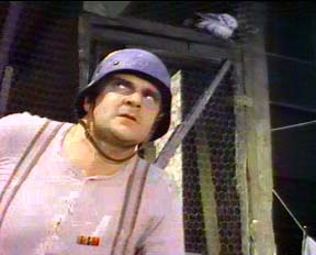 Franz Liebkind (played by Kenneth Mars) in 'The Producers,' with helmet and pigeon