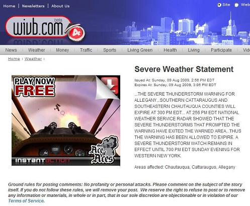 WIVB TV Buffalo, 2:56 PM ET Aug. 9, 2009, Severe Weather Statement accompanied by Instant Action 'Ace of Aces' aerial dogfight game