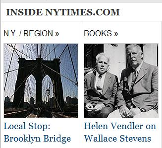 Inside NY Times 8/23/09-- images of Brooklyn Bridge, poets Frost and Stevens
