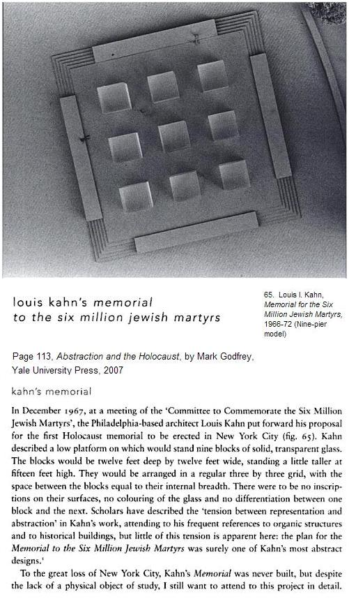 Proposed holocaust memorial-- nine large glass blocks in a 3x3 array-- by Louis I. Kahn