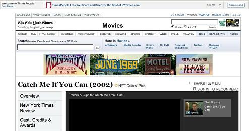 NY Times online 8/30/09: 'Catch Me If You Can'