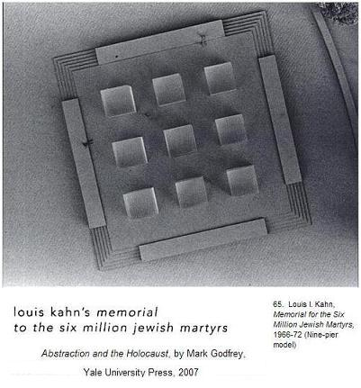 Louis Kahn, design for nine large glass cubes forming a Holocaust memorial