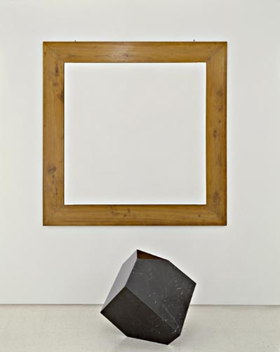 Parmiggiani's Bruno: empty canvas with sculpture of Durer's solid