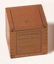 Box containing Froebel's Third Gift-- The Eightfold Cube