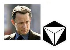 Robert Langdon (played by Tom Hanks) and a corner of Solomon's Cube