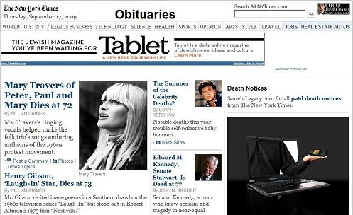 NY Times obituaries, 2:30 AM Sept. 17, 2009: Mary Travers and others