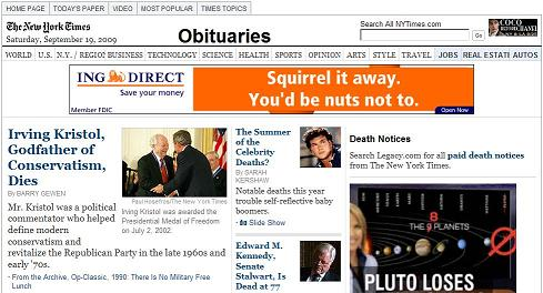 NY Times obituary for Irving Kristol, with squirrel-and-nuts ad