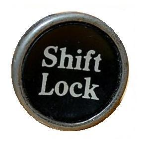 Image-- Shift Lock key from manual typewriter, linking to Levin's 'The Philosopher's Gaze'