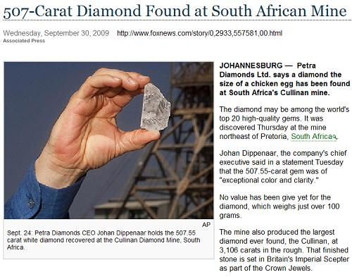 507-carat diamond from the Cullinan mine reportedly found on Thursday, Sept. 24, 2009