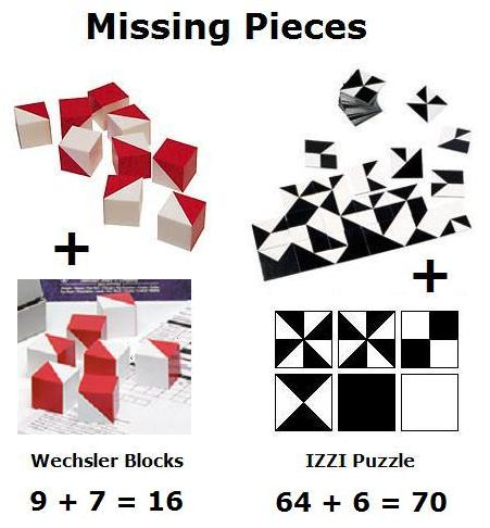 Pieces missing from Wechsler block design test and from IZZI puzzle