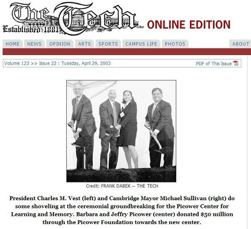 Founders of the Picower Center for Learning and Memory, with shovel, in photo published April 29, 2003