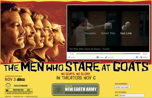 Ad, with army base shooter in video, for 'The Men Who Stare at Goats'