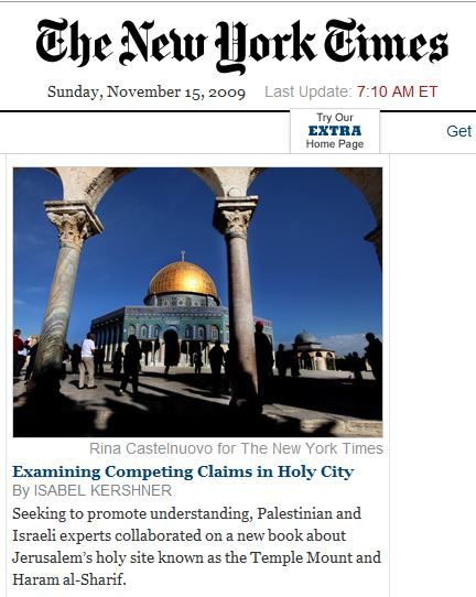 Dome of the Rock on NY Times online front page, 7:10 AM ET Sunday, Nov. 15, 2009
