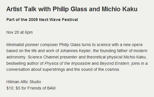 Brooklyn Academy of Music discussion with Philip Glass and Michio Kaku