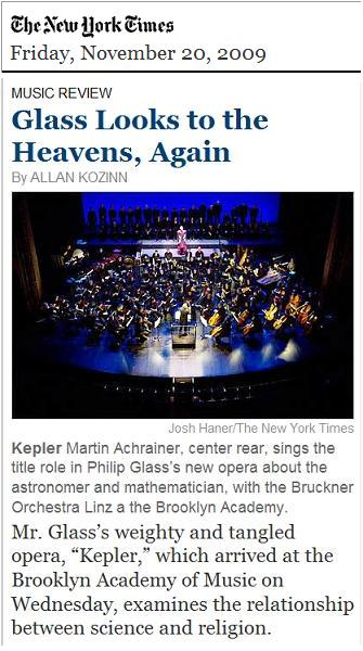 Philip Glass Opera 'Kepler' Wednesday, Nov. 18, 2009, in Brooklyn