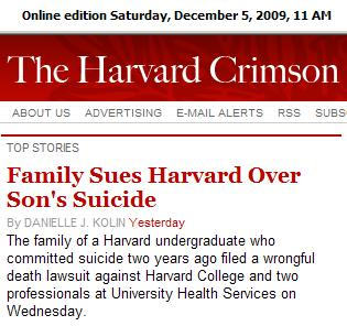 The  Crimson: Family sues over Harvard suicide