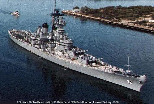 The battleship New Jersey at Pearl Harbor, 1986