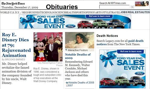 NY Times obits, Dec. 17, 2009, with Ford Motors ads that say, 'Roll over to learn more'