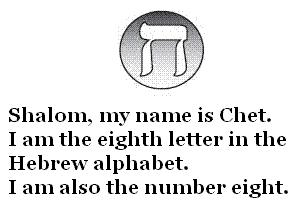 Hebrew letter Chet, meaning 'Eight'