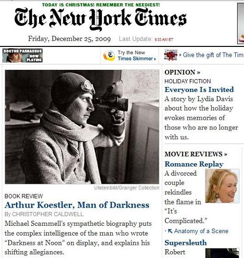 NY Times front page, Christmas morning 2009