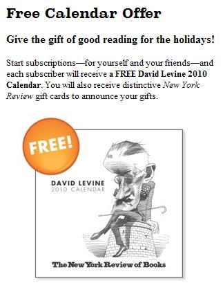 NY Review of Books 2010 David Levine calendar cover with cartoon of James Joyce