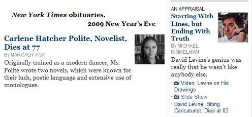 NY Times obituaries on New Year's Eve, 2009-- Carlene Hatcher Polite and David Levine