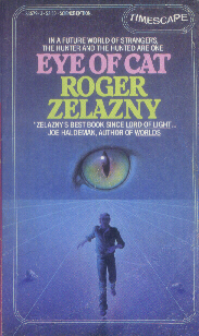 Running man with blue background on the cover of 'Eye of Cat,' by Roger Zelazny