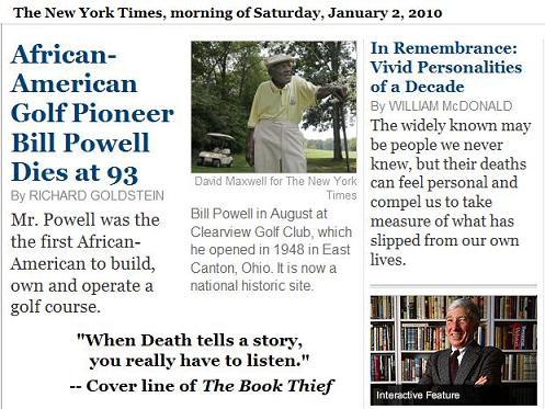 African-American Golf Pioneer Bill Powell Dies at 93 on New Year's Eve, 2009