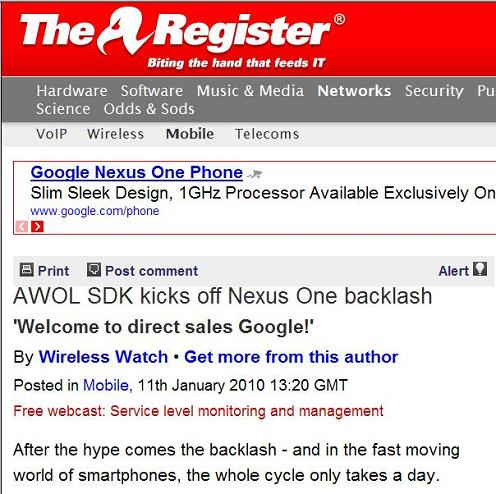 The Register article on Google's Nexus One smartphone, with Register's vulture logo