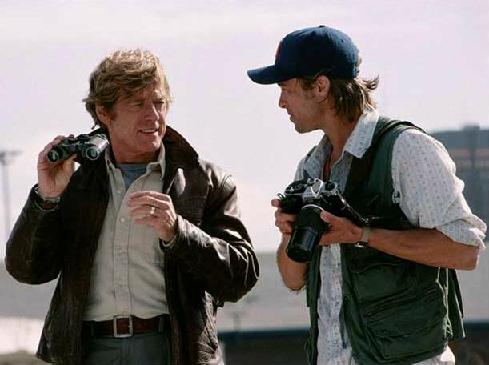 'Spy Game'-- Redford with binoculars, Pitt with camera