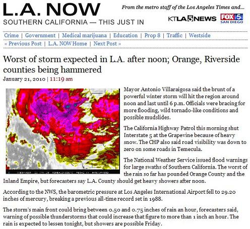 LA mayor says storm front will hit region at noon on June 21, 2010