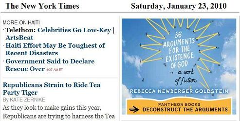 NY Times ad for Goldstein's '36 Arguments'-- 'Deconstruct the Arguments'