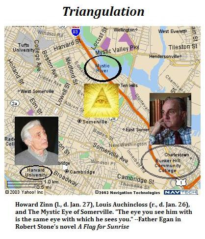 The Mystic Eye of Somerville, with the late Howard Zinn and the late Louis Auchincloss-- 'The eye you see him with is the same eye with which he sees you'-- Father Egan
