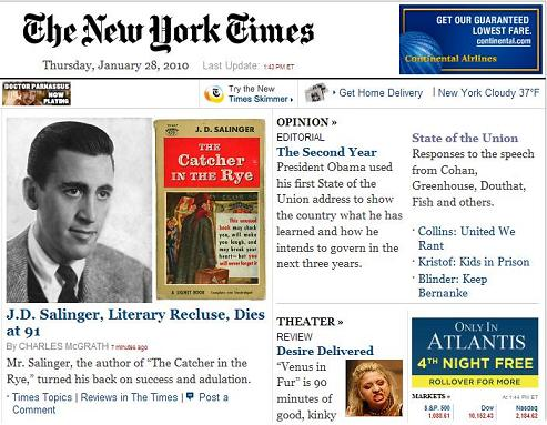 NY Times 1:43 PM Jan. 28, 2010-- News of Salinger's death, with ad-- 'Only in Atlantis: 4th night free'