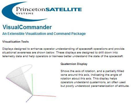VisualCommander quaternion display from Princeton Satellite Systems